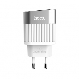 HOCO C40A LED 2-PORT NETWORK CHARGER WHITE