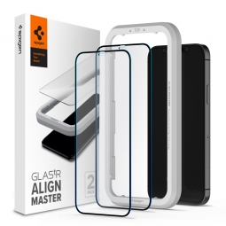 SZKŁO HARTOWANE SPIGEN ALM GLASS FC 2-PACK IPHONE 12 MINI BLACK