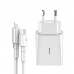 BASEUS SPEED NETWORK CHARGER PD18W + CABLE LIGHTNING WHITE